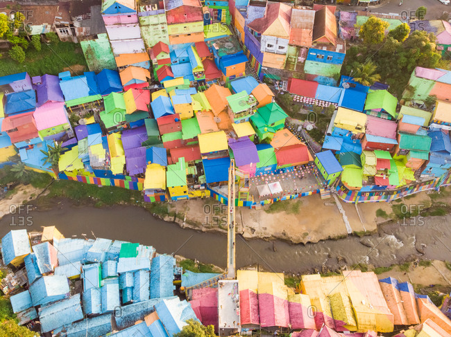 Aerial view of Rainbow village in Indonesia.