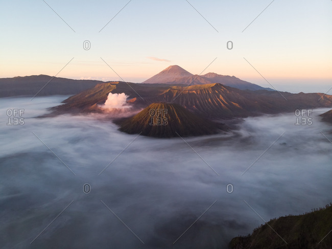Aerial view of Bromo volcano in Indonesia.