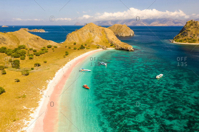 July 1, 2019: Aerial view of Pink Beach in Komodo National Park in Indonesia.