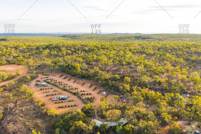 Aerial view of recreational vehicle camp near Undara Volcanic National Park, Australia.