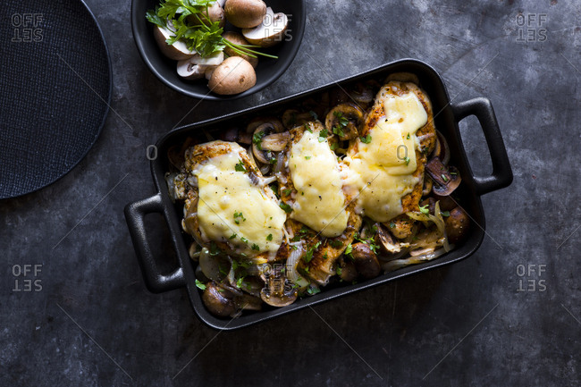 Chicken bake with cheese and mushrooms