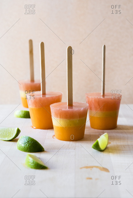 Tropical layered fruit popsicles