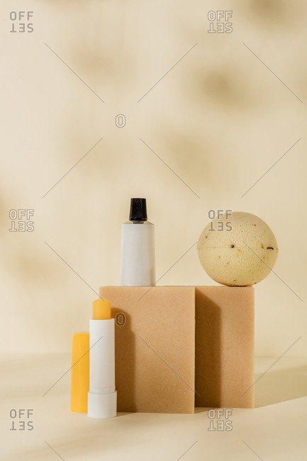 Natural soaps and hygiene products on light background