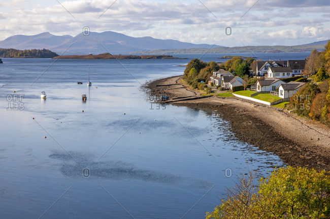 Autumn over the Firth of Lorne with a distant view of the Isle of Mull, Argyll, Scotland