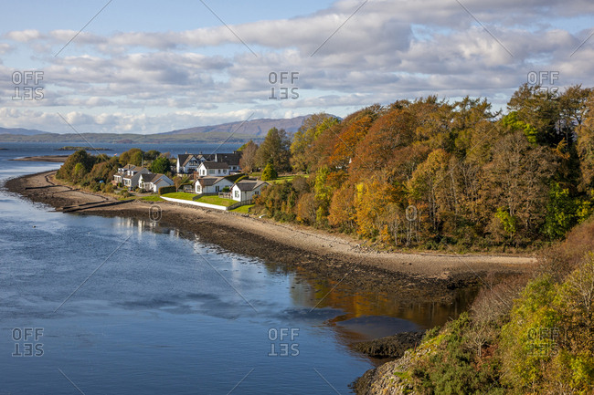 Fall in the Firth of Lorne with a distant view of the Isle of Mull, Argyll, Scotland