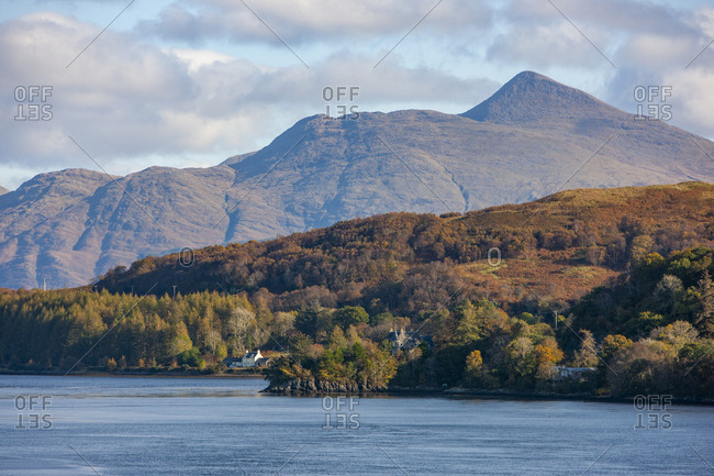 Telephoto view of Ben Cruachan from Connel Bridge, Autumn in Argyll