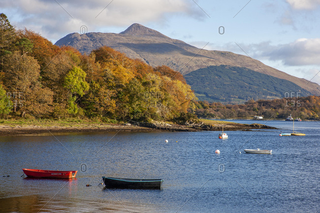Argyll, Scotland - October 20, 2019: Autumn view towards Ben Cruachan from the shore of Loch Etive