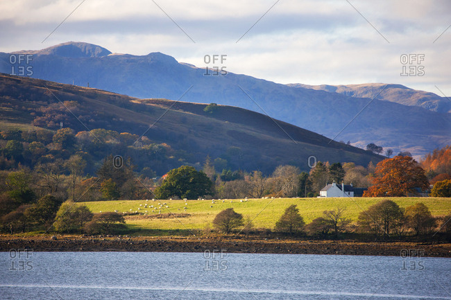 Telephoto view towards South Shian, Loch Creran, Argyll, Scotland