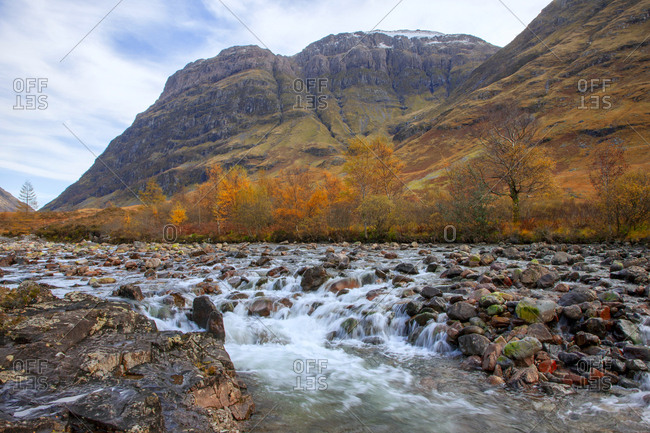 Autumn view Bidean nam Bian from the River Coe, Glencoe, Argyll, Scotland