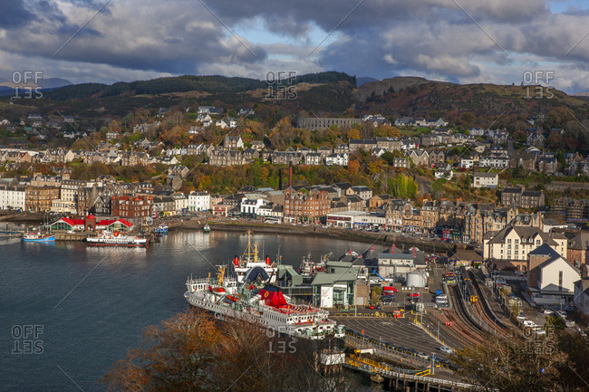 Argyll, Scotland - November 3, 2019: Autumn view over Oban Bay