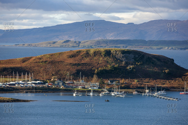 Evening light over the Kerrera Marina, Oban, Argyll