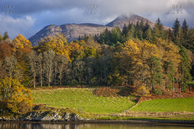 Ben Cruachan and Achnacloich, Loch Etive, Argyll, Scotland in fall
