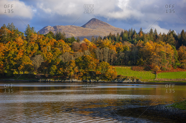 Beautiful fall landscape of Ben Cruachan and Achnacloich, Loch Etive, Argyll, Scotland