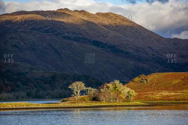 Evening light over Loch Etive, Argyll, Scotland in fall
