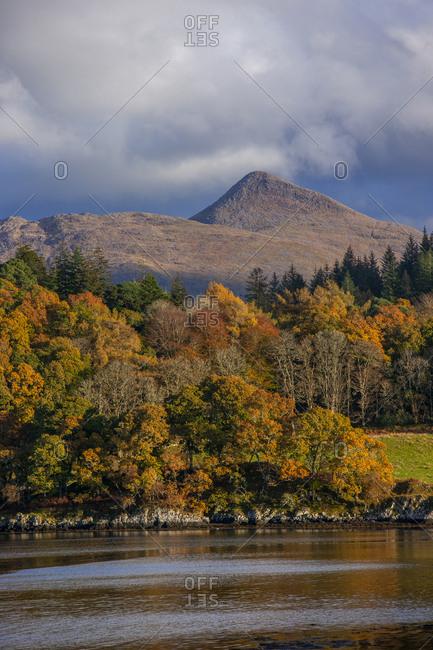 Ben Cruachan and Achnacloich, Loch Etive, in Argyll, Scotland during autumn
