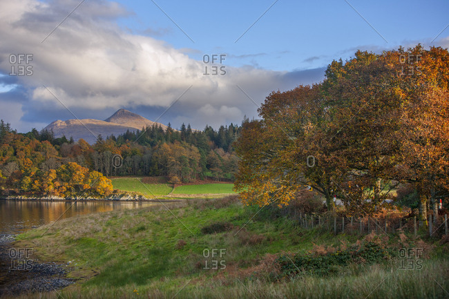 Autumn view of Ben Cruachan and Achnacloich, Loch Etive, Argyll, Scotland