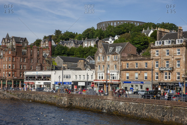 Argyll, Scotland - August 10, 2019: McCaigs Tower & George Street, Oban