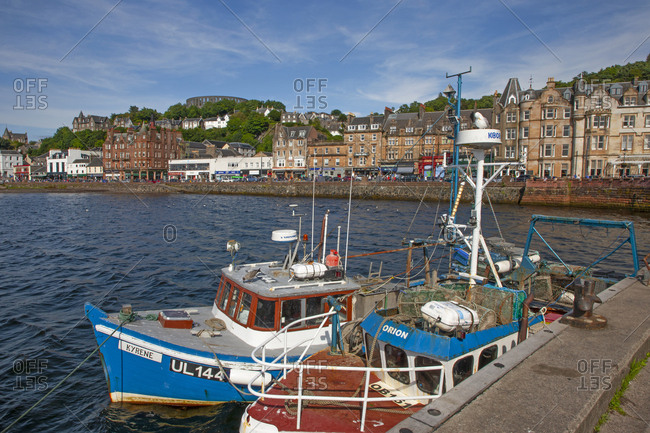 Argyll, Scotland - August 10, 2019: View of Oban from the South Pier in Argyll