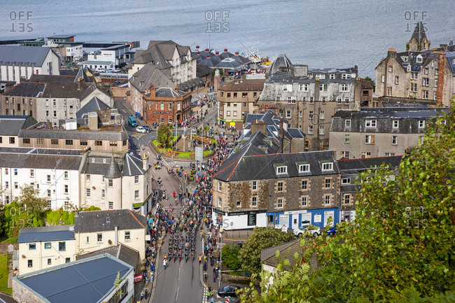 Argyll, Scotland - August 22, 2019: Oban Highland Games Precession in downtown Argyll
