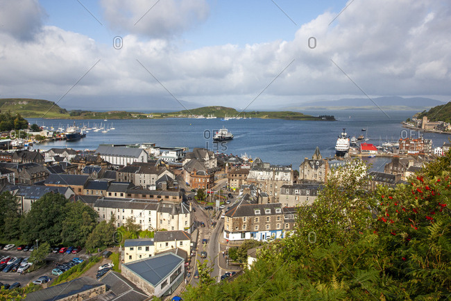 Argyll, Scotland - August 22, 2019: Aerial view of Oban from the old Hydro in Argyll