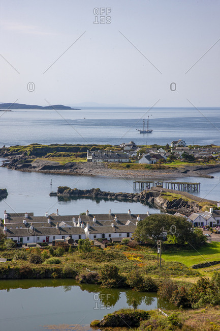 Argyll, Scotland - August 25, 2019: Overlooking Ellenabeich and Easdale Island