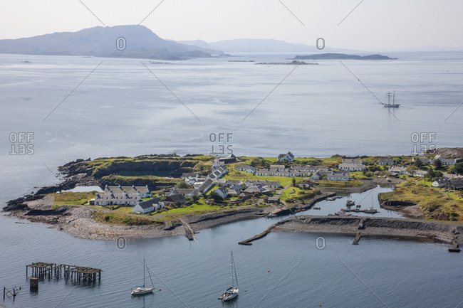 Bird's eye view overlooking Ellenabeich and Easdale island, Argyll