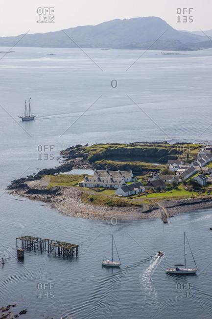 Aerial view overlooking Ellenabeich and Easdale island, Argyll