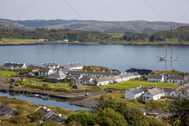 Argyll, Scotland - August 25, 2019: View from Hugh Hill on Teasdale Island towards Ellenabeich