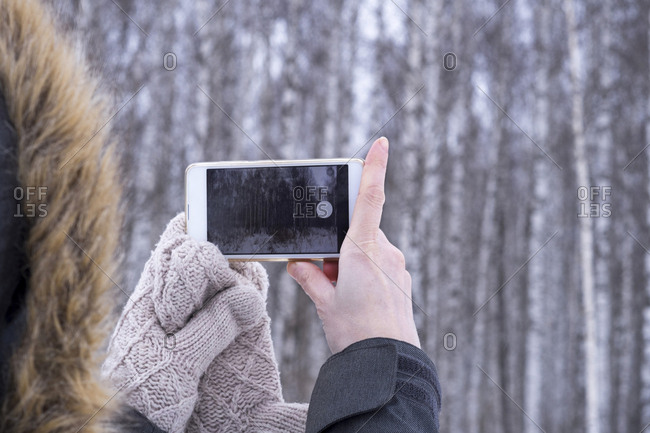 Cropped image of woman photographing trees through smart phone during winter