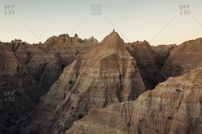 Scenic view of mountains against clear sky at Badlands