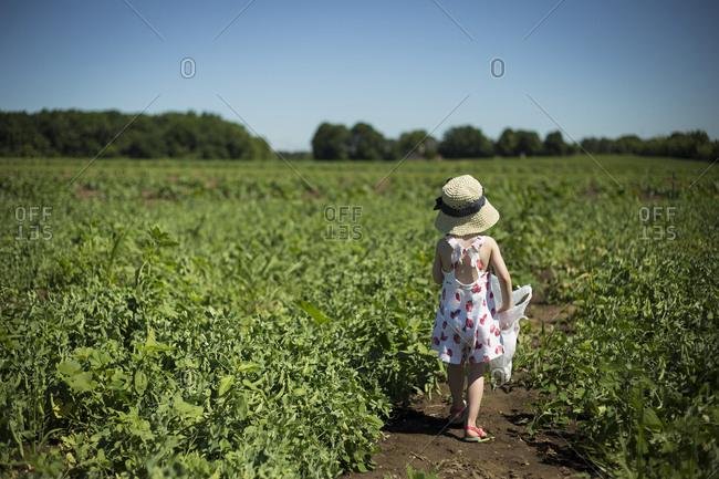 Rear view of girl in sun hat walking on field against clear blue sky