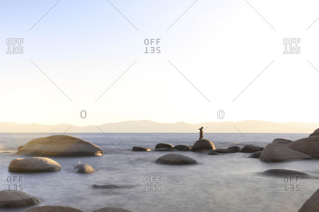 Scenic view of Lake Tahoe against clear sky during sunset