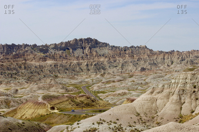 Scenic view of Badlands National Park against sky