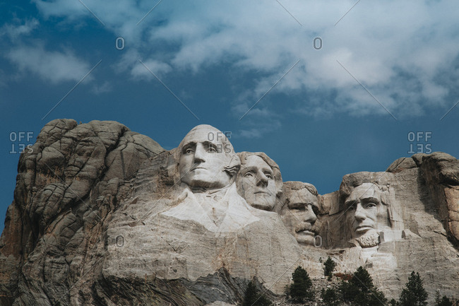 Low angle view of Mt Rushmore National Monument against cloudy sky