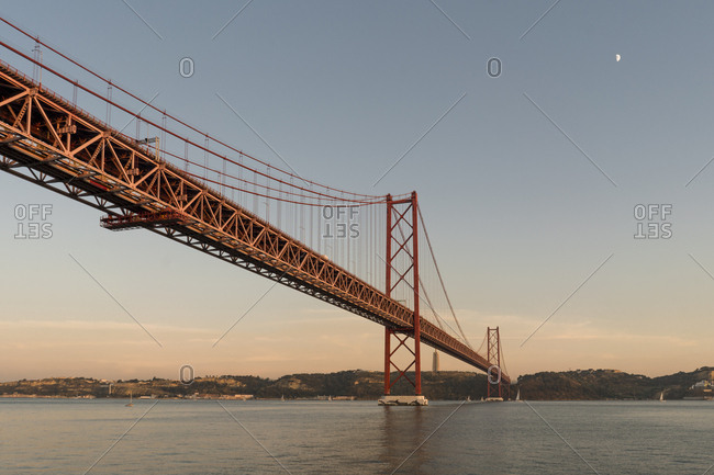 25th of April Bridge in Lisbon at sunset- Portugal