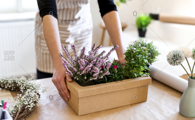 Close-up of woman with flowers inside a cardboard box on table