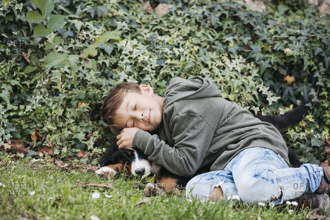 Boy playing with his Bernese mountain dog in the garden