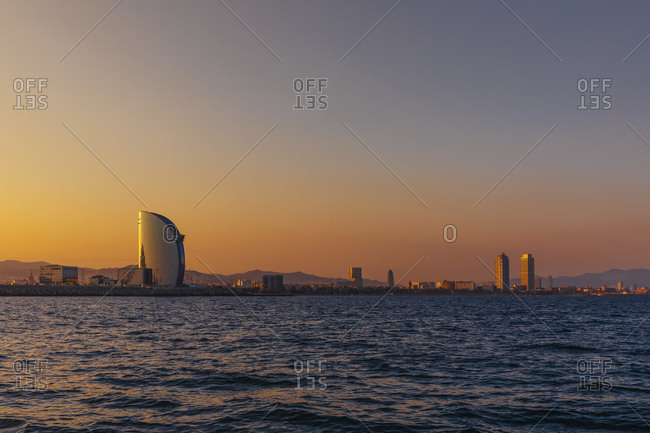 Panoramic view of the city Barcelona at sunset- Spain