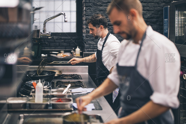 Two cooks at work in a restaurant kitchen