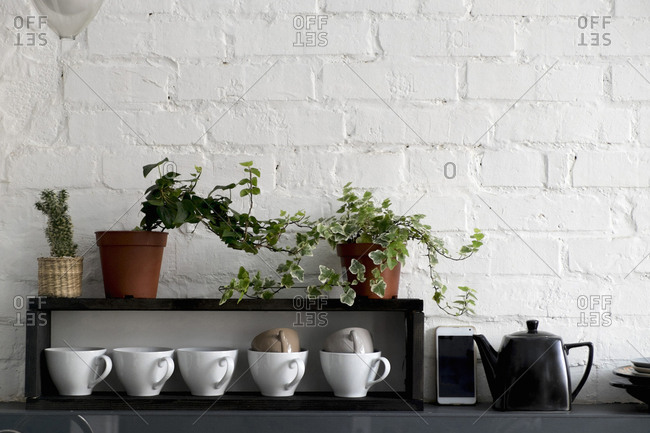 Cups with potted plants arranged on shelf by mobile phone and kettle at home