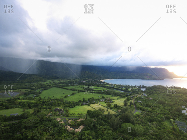 High angle idyllic view of rainfall over field