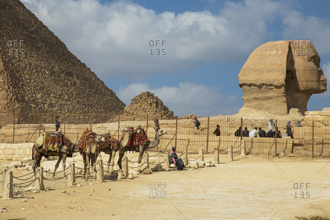 Giza Governorate, Egypt - February 18, 2018: Camel enclosure besides the Great Sphinx of Giza