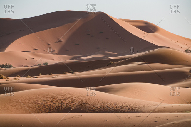 Scenic view of sand dunes against clear sky during sunny day