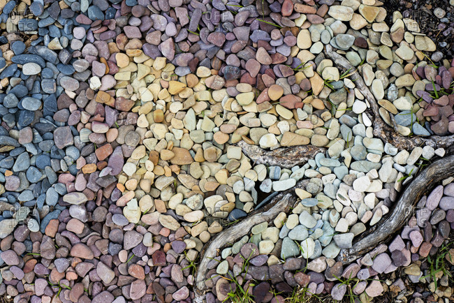 Overhead view of pebbles at Glacier National Park