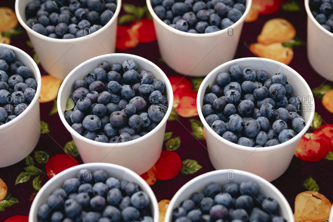 High angle view of blueberries in containers for sale on table at store