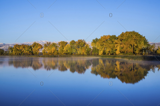 Scenic view of calm lake by trees against clear blue sky