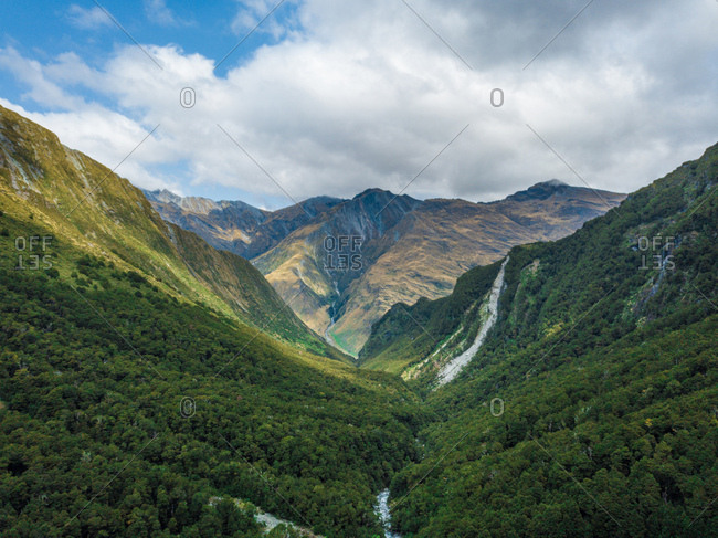 Drone Shot Mountain Range and Valley in New Zealand