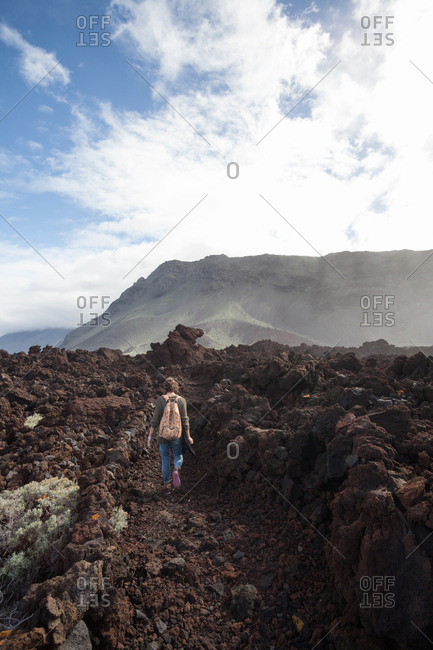 20 30 years old girl hiking alone in the beautiful coastline el hierro