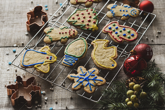 Christmas shaped gingerbread cookies on cooling rack shot from above