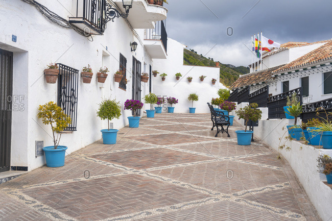 Mijas, Malaga, Spain - January 23, 2019: village of Mijas in malaga province in winter